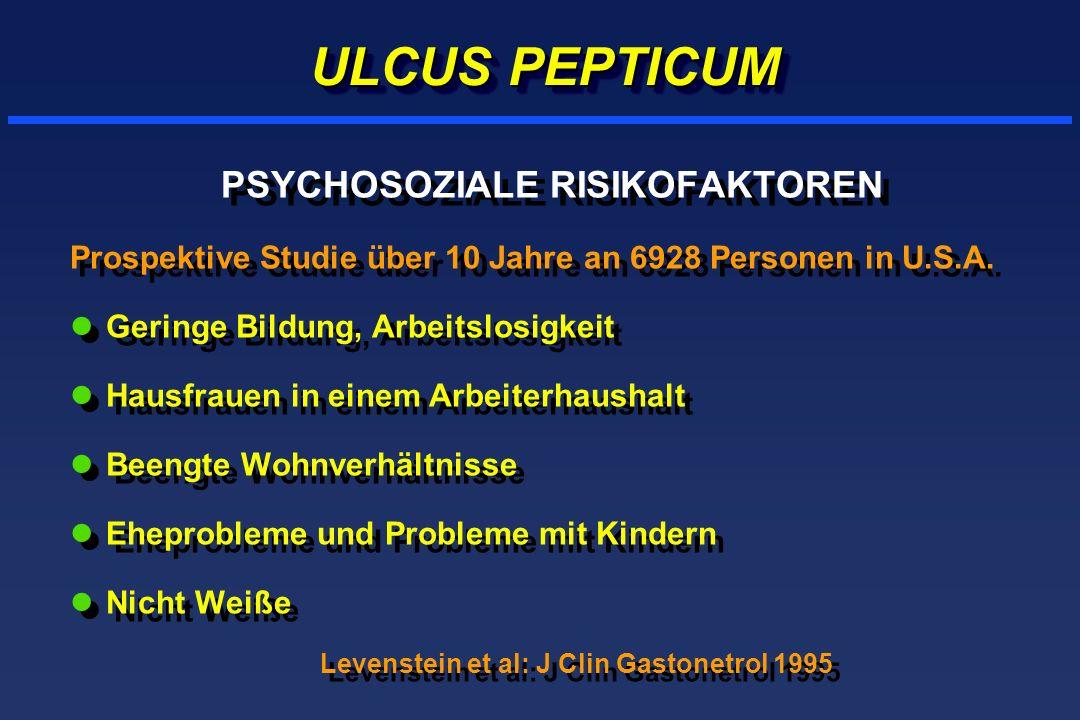 ULCUS PEPTICUM PSYCHOSOZIALE RISIKOFAKTOREN Prospektive Studie über 10 Jahre an 6928 Personen in U.S.A. lGeringe Bildung, Arbeitslosigkeit lHausfrauen