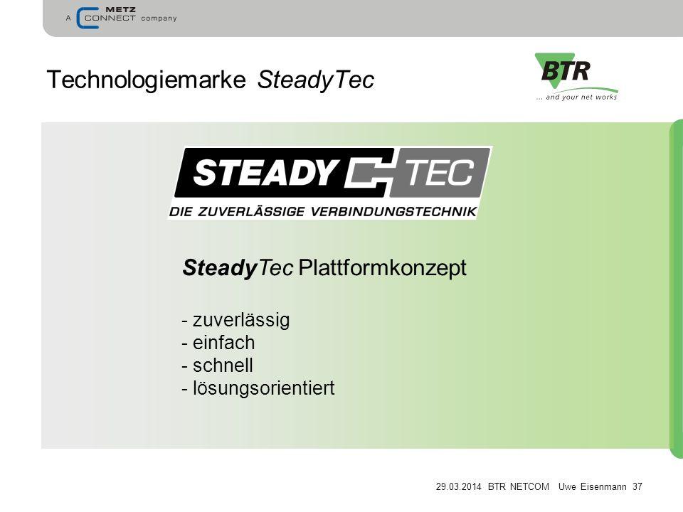 29.03.2014 BTR NETCOM Uwe Eisenmann 37 Technologiemarke SteadyTec SteadyTec Plattformkonzept - zuverlässig - einfach - schnell - lösungsorientiert