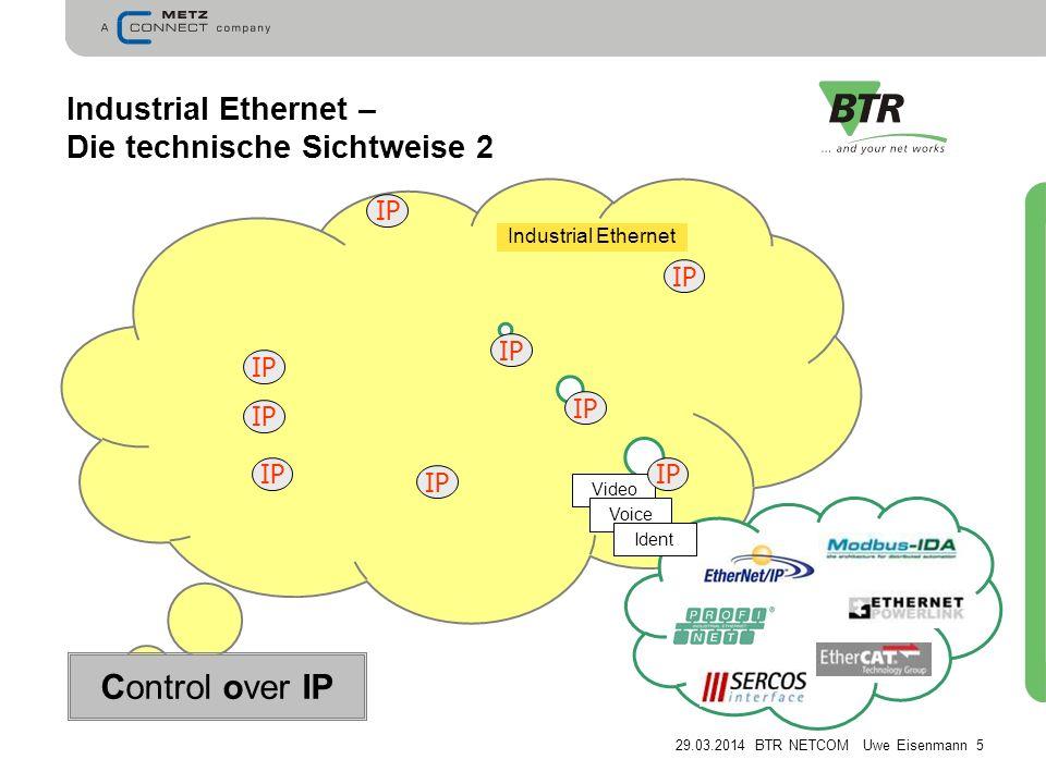 29.03.2014 BTR NETCOM Uwe Eisenmann 5 Industrial Ethernet – Die technische Sichtweise 2 IP Video Voice Ident IP Control over IP Industrial Ethernet