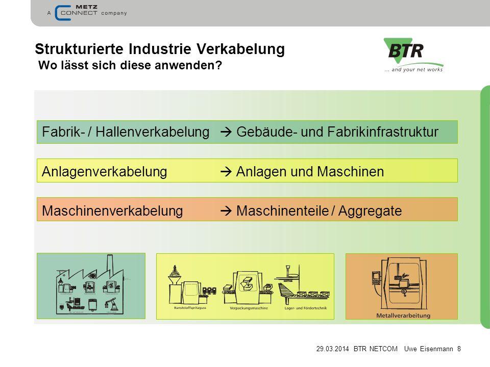 29.03.2014 BTR NETCOM Uwe Eisenmann 8 Strukturierte Industrie Verkabelung Wo lässt sich diese anwenden.