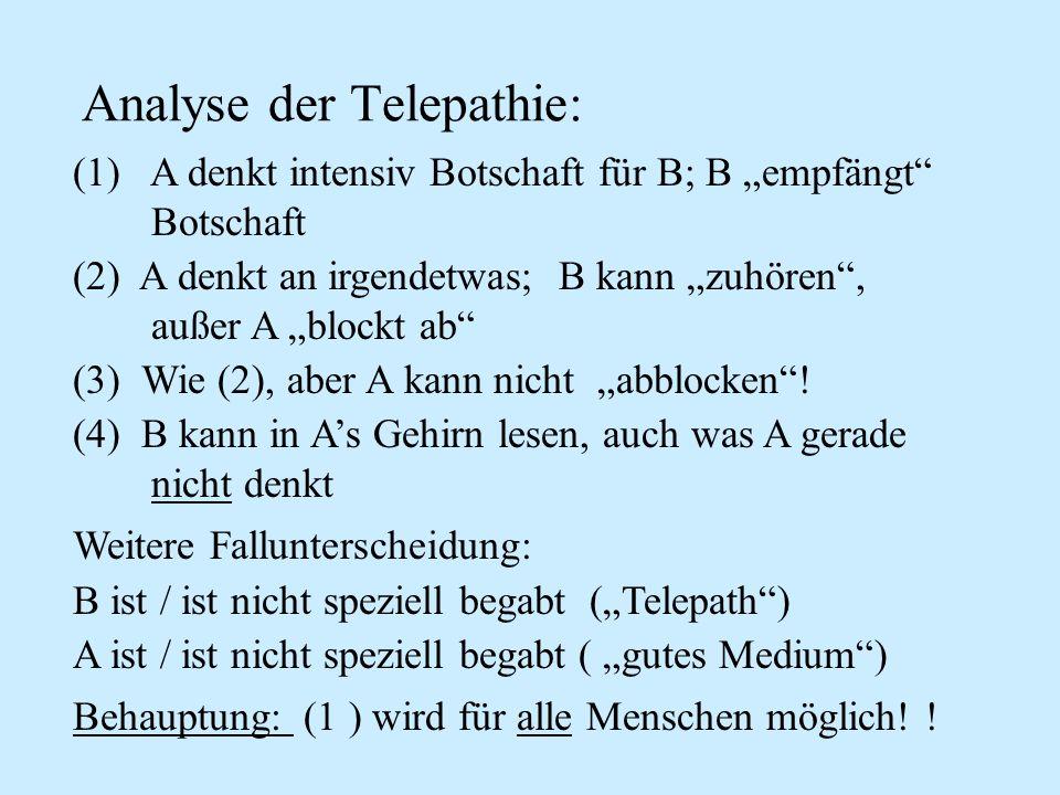 Analyse der Telepathie: (1) A denkt intensiv Botschaft für B; B empfängt Botschaft (2) A denkt an irgendetwas; B kann zuhören, außer A blockt ab (3) W