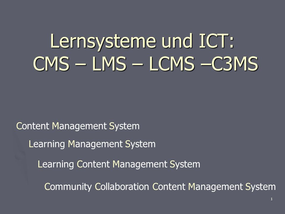 1 Lernsysteme und ICT: CMS – LMS – LCMS –C3MS Content Management System Learning Content Management System Learning Management System Community Collaboration Content Management System
