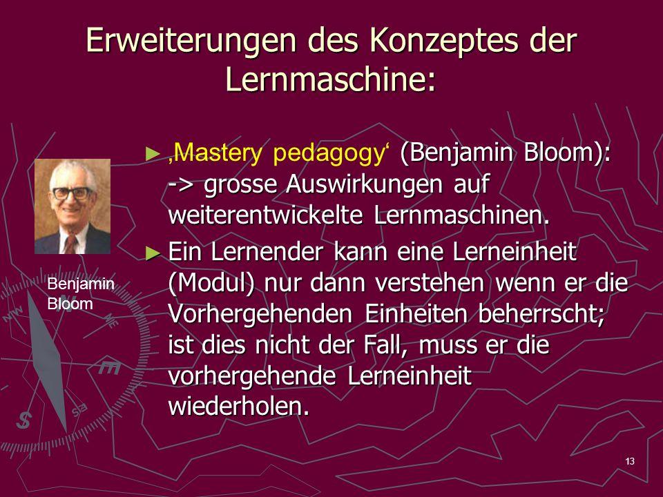 13 Erweiterungen des Konzeptes der Lernmaschine: (Benjamin Bloom): -> grosse Auswirkungen auf weiterentwickelte Lernmaschinen. Mastery pedagogy (Benja