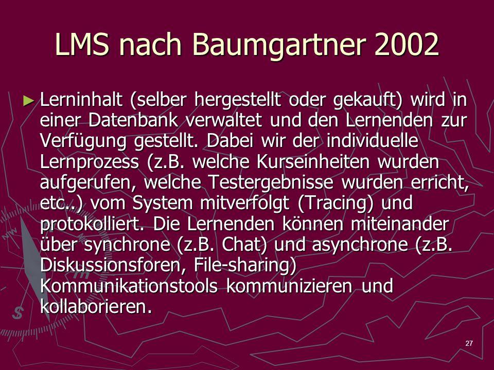 27 LMS nach Baumgartner 2002 Lerninhalt (selber hergestellt oder gekauft) wird in einer Datenbank verwaltet und den Lernenden zur Verfügung gestellt.