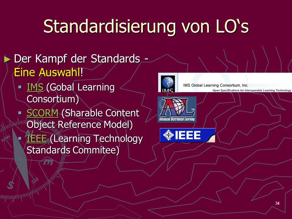 34 Standardisierung von LOs Der Kampf der Standards - Eine Auswahl! Der Kampf der Standards - Eine Auswahl! IMS (Gobal Learning Consortium) IMS (Gobal