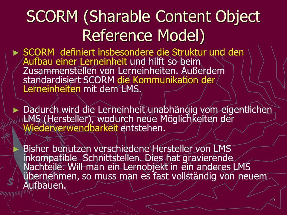35 SCORM (Sharable Content Object Reference Model) SCORM definiert insbesondere die Struktur und den Aufbau einer Lerneinheit und hilft so beim Zusammenstellen von Lerneinheiten.