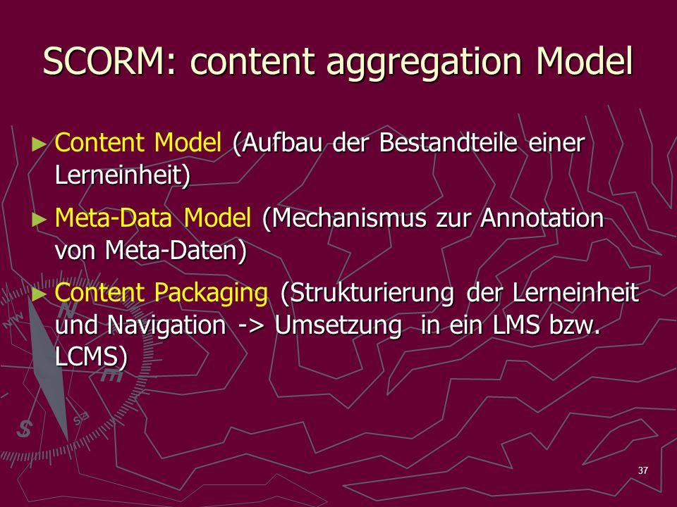 37 SCORM: content aggregation Model (Aufbau der Bestandteile einer Lerneinheit) Content Model (Aufbau der Bestandteile einer Lerneinheit) (Mechanismus zur Annotation von Meta-Daten) Meta-Data Model (Mechanismus zur Annotation von Meta-Daten) (Strukturierung der Lerneinheit und Navigation -> Umsetzung in ein LMS bzw.