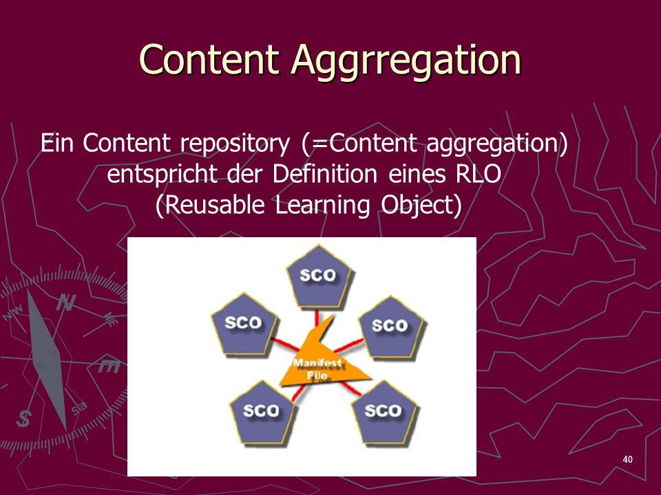 40 Content Aggrregation Ein Content repository (=Content aggregation) entspricht der Definition eines RLO (Reusable Learning Object)