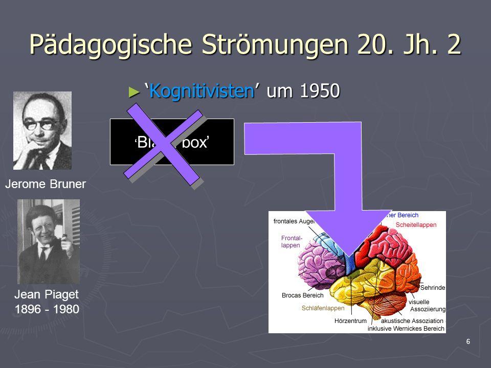 6 Pädagogische Strömungen 20. Jh. 2 Kognitivisten um 1950Kognitivisten um 1950 Jerome Bruner Jean Piaget 1896 - 1980 Black box