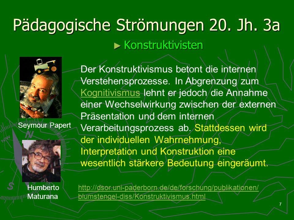 7 Pädagogische Strömungen 20. Jh. 3a Konstruktivisten Konstruktivisten Seymour Papert Humberto Maturana Der Konstruktivismus betont die internen Verst
