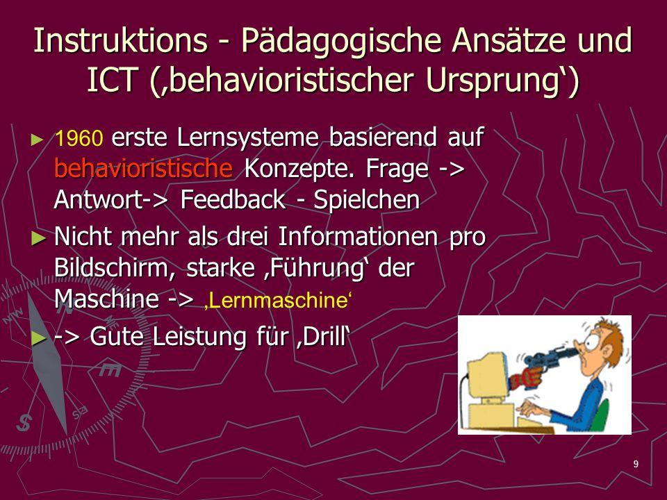 9 Instruktions - Pädagogische Ansätze und ICT (behavioristischer Ursprung) erste Lernsysteme basierend auf behavioristische Konzepte. Frage -> Antwort