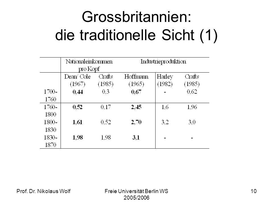 Prof. Dr. Nikolaus WolfFreie Universität Berlin WS 2005/2006 10 Grossbritannien: die traditionelle Sicht (1)