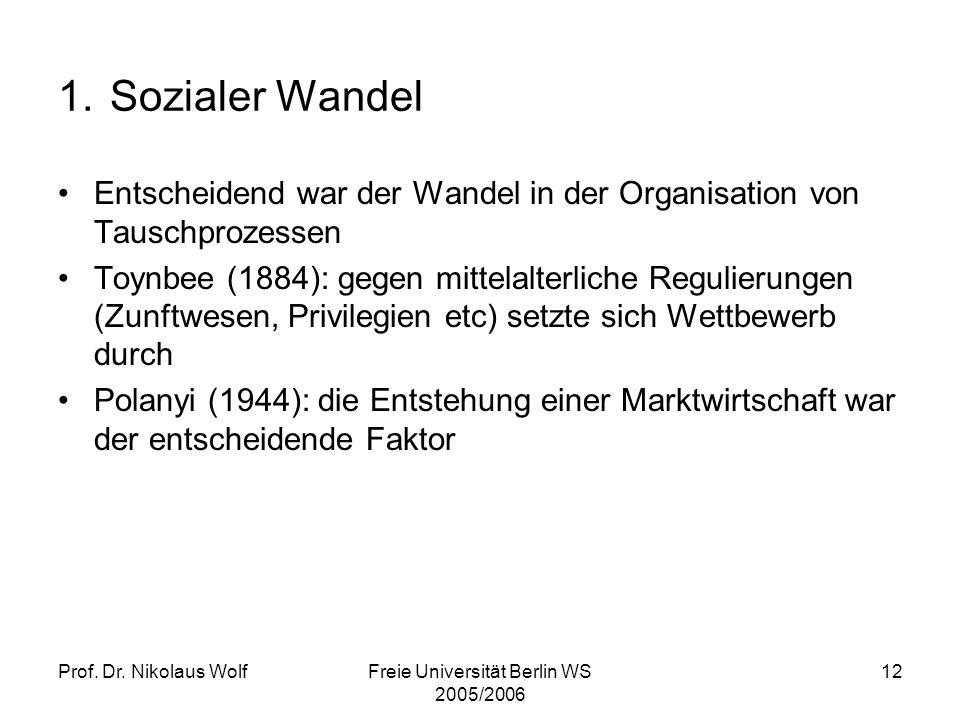 Prof. Dr. Nikolaus WolfFreie Universität Berlin WS 2005/2006 12 1. Sozialer Wandel Entscheidend war der Wandel in der Organisation von Tauschprozessen