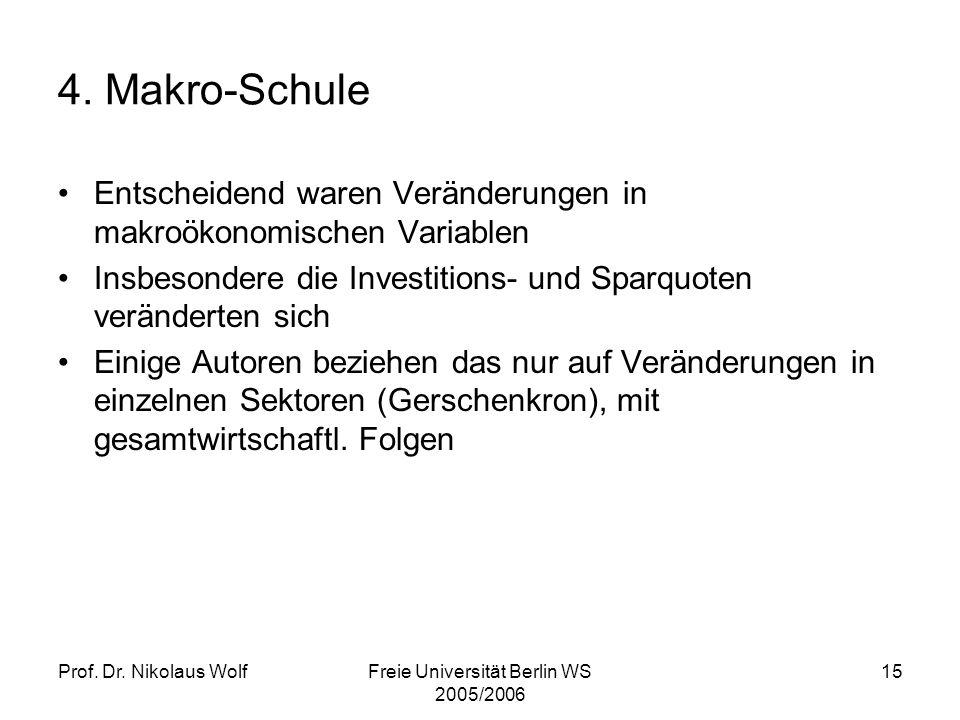 Prof. Dr. Nikolaus WolfFreie Universität Berlin WS 2005/2006 15 4. Makro-Schule Entscheidend waren Veränderungen in makroökonomischen Variablen Insbes