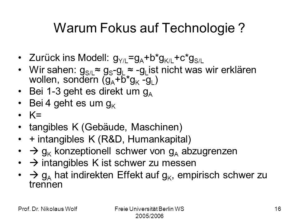 Prof. Dr. Nikolaus WolfFreie Universität Berlin WS 2005/2006 16 Warum Fokus auf Technologie ? Zurück ins Modell: g Y/L =g A +b*g K/L +c*g S/L Wir sahe