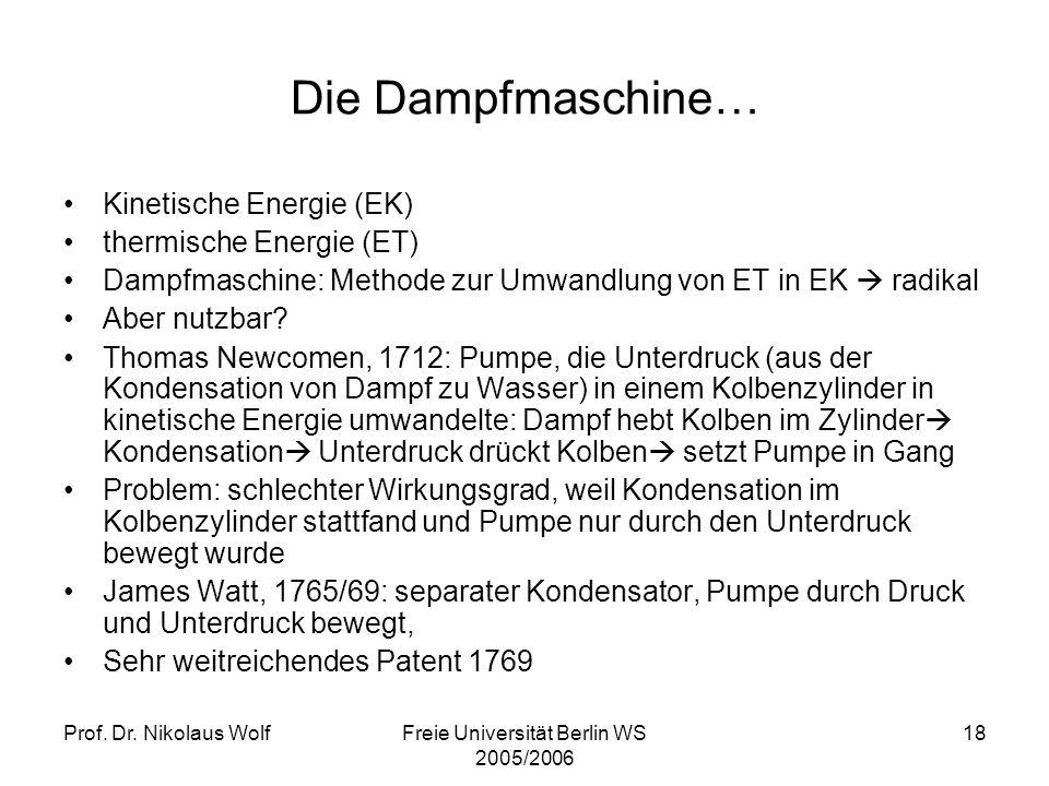 Prof. Dr. Nikolaus WolfFreie Universität Berlin WS 2005/2006 18 Die Dampfmaschine… Kinetische Energie (EK) thermische Energie (ET) Dampfmaschine: Meth