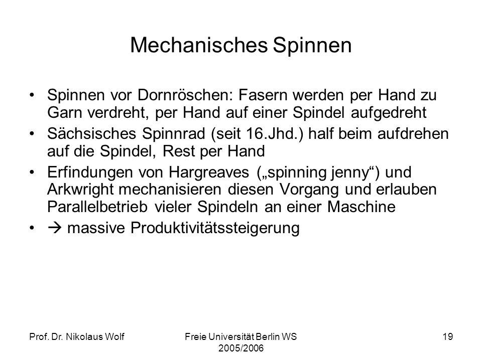 Prof. Dr. Nikolaus WolfFreie Universität Berlin WS 2005/2006 19 Mechanisches Spinnen Spinnen vor Dornröschen: Fasern werden per Hand zu Garn verdreht,