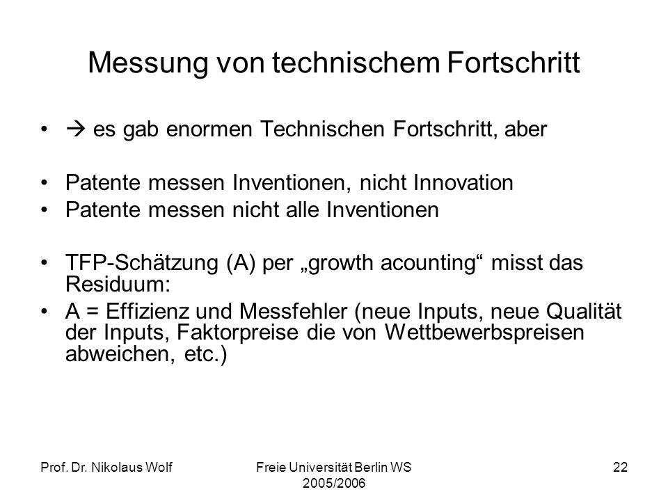 Prof. Dr. Nikolaus WolfFreie Universität Berlin WS 2005/2006 22 Messung von technischem Fortschritt es gab enormen Technischen Fortschritt, aber Paten