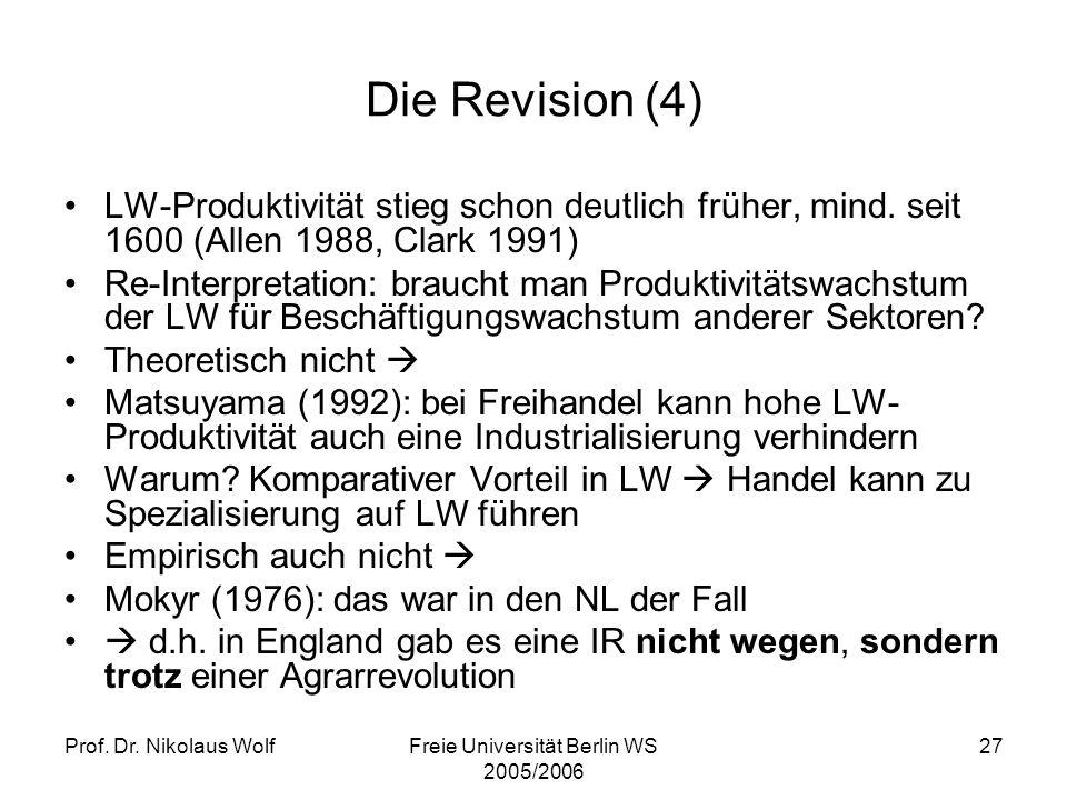 Prof. Dr. Nikolaus WolfFreie Universität Berlin WS 2005/2006 27 Die Revision (4) LW-Produktivität stieg schon deutlich früher, mind. seit 1600 (Allen