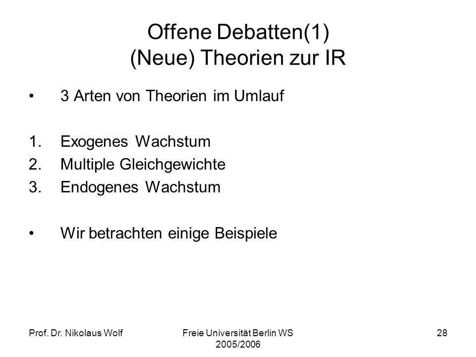 Prof. Dr. Nikolaus WolfFreie Universität Berlin WS 2005/2006 28 Offene Debatten(1) (Neue) Theorien zur IR 3 Arten von Theorien im Umlauf 1.Exogenes Wa