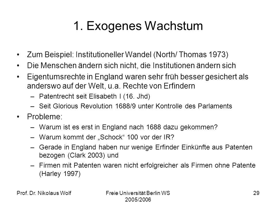 Prof. Dr. Nikolaus WolfFreie Universität Berlin WS 2005/2006 29 1. Exogenes Wachstum Zum Beispiel: Institutioneller Wandel (North/ Thomas 1973) Die Me