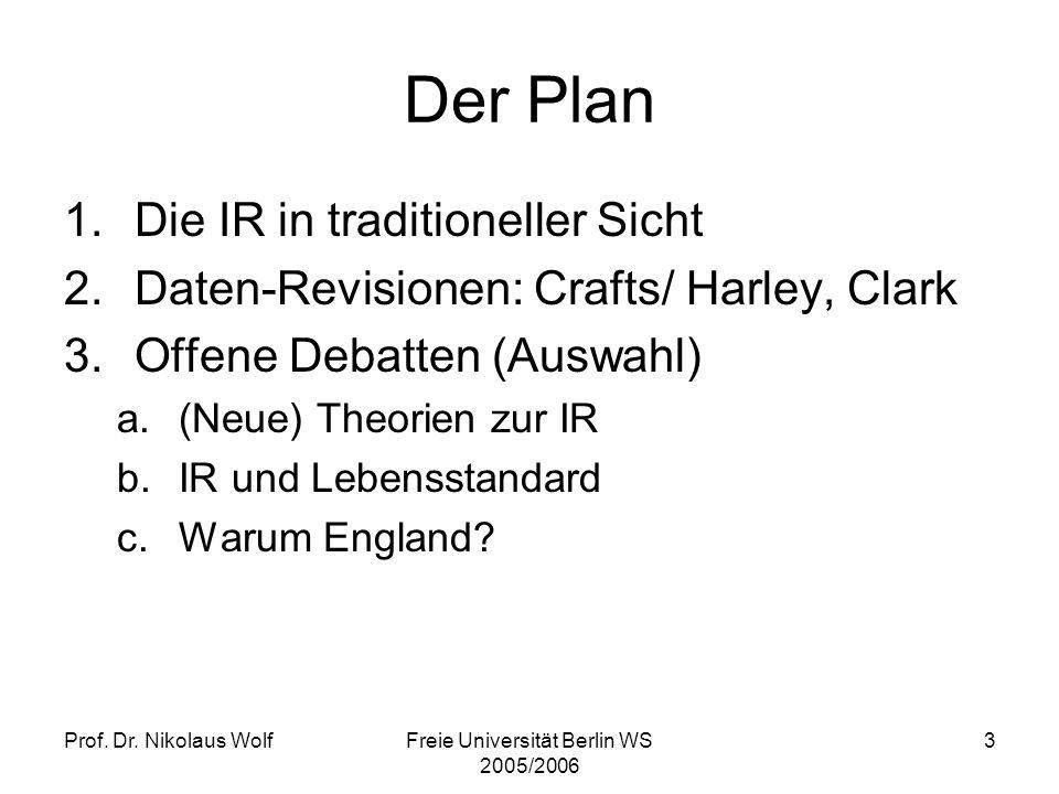 Prof. Dr. Nikolaus WolfFreie Universität Berlin WS 2005/2006 3 Der Plan 1.Die IR in traditioneller Sicht 2.Daten-Revisionen: Crafts/ Harley, Clark 3.O