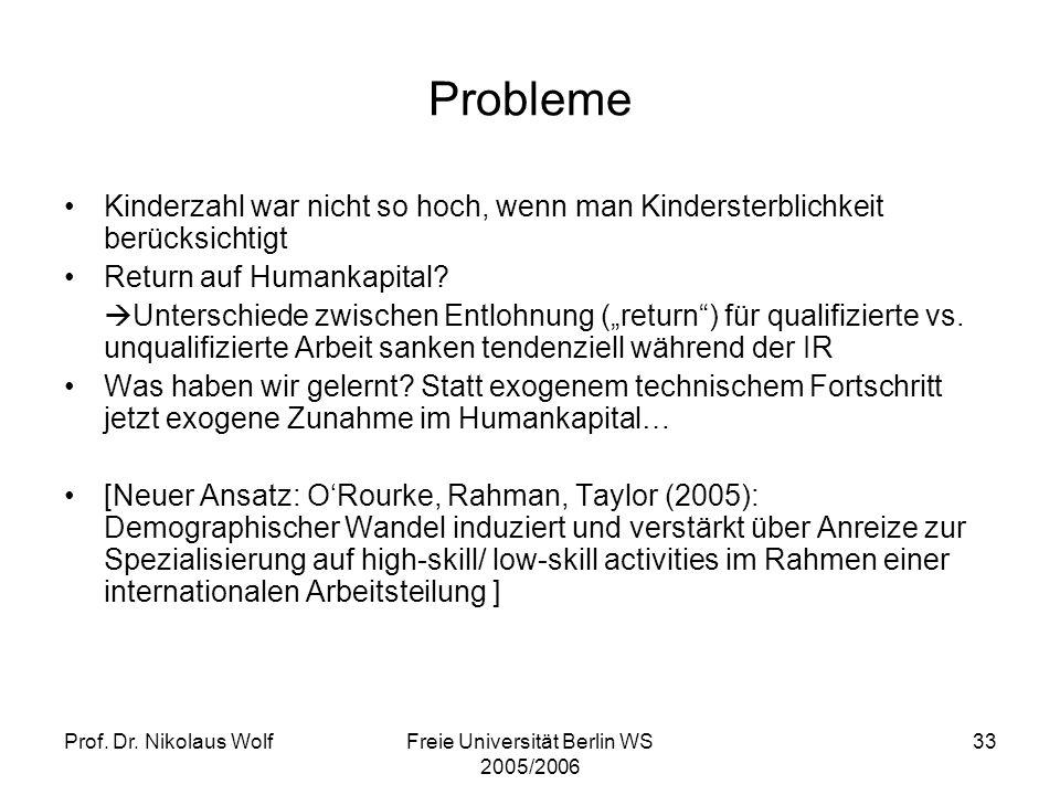 Prof. Dr. Nikolaus WolfFreie Universität Berlin WS 2005/2006 33 Probleme Kinderzahl war nicht so hoch, wenn man Kindersterblichkeit berücksichtigt Ret