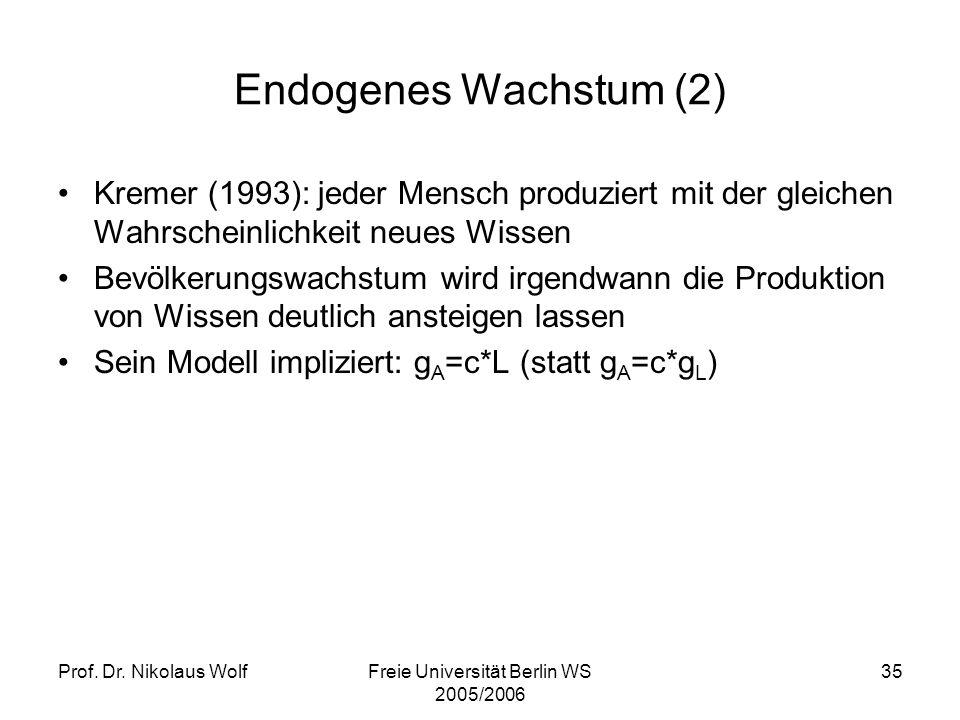 Prof. Dr. Nikolaus WolfFreie Universität Berlin WS 2005/2006 35 Endogenes Wachstum (2) Kremer (1993): jeder Mensch produziert mit der gleichen Wahrsch