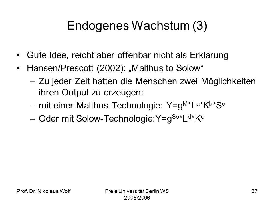Prof. Dr. Nikolaus WolfFreie Universität Berlin WS 2005/2006 37 Endogenes Wachstum (3) Gute Idee, reicht aber offenbar nicht als Erklärung Hansen/Pres