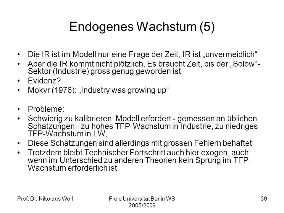 Prof. Dr. Nikolaus WolfFreie Universität Berlin WS 2005/2006 39 Endogenes Wachstum (5) Die IR ist im Modell nur eine Frage der Zeit, IR ist unvermeidl