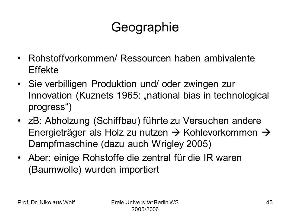 Prof. Dr. Nikolaus WolfFreie Universität Berlin WS 2005/2006 45 Geographie Rohstoffvorkommen/ Ressourcen haben ambivalente Effekte Sie verbilligen Pro