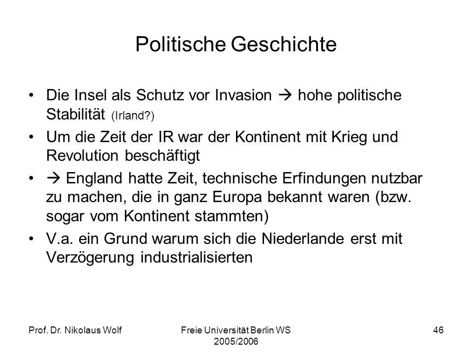 Prof. Dr. Nikolaus WolfFreie Universität Berlin WS 2005/2006 46 Politische Geschichte Die Insel als Schutz vor Invasion hohe politische Stabilität (Ir