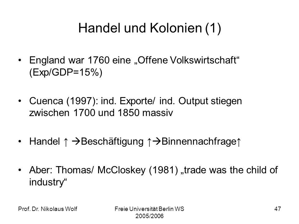 Prof. Dr. Nikolaus WolfFreie Universität Berlin WS 2005/2006 47 Handel und Kolonien (1) England war 1760 eine Offene Volkswirtschaft (Exp/GDP=15%) Cue