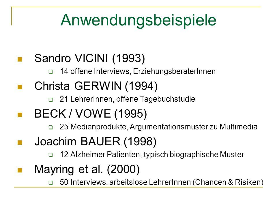 Anwendungsbeispiele Sandro VICINI (1993) 14 offene Interviews, ErziehungsberaterInnen Christa GERWIN (1994) 21 LehrerInnen, offene Tagebuchstudie BECK / VOWE (1995) 25 Medienprodukte, Argumentationsmuster zu Multimedia Joachim BAUER (1998) 12 Alzheimer Patienten, typisch biographische Muster Mayring et al.