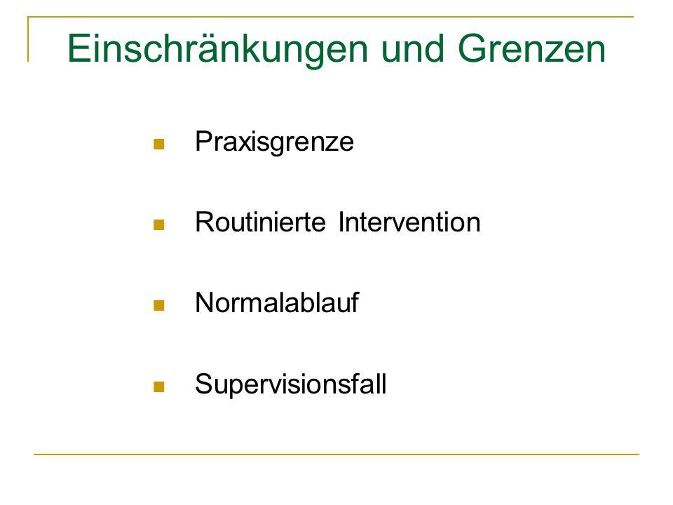 Einschränkungen und Grenzen Praxisgrenze Routinierte Intervention Normalablauf Supervisionsfall