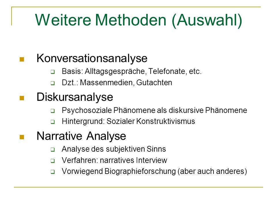 Weitere Methoden (Auswahl) Konversationsanalyse Basis: Alltagsgespräche, Telefonate, etc.