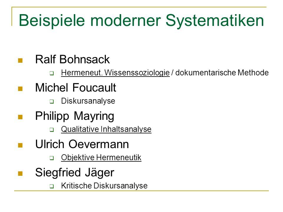 Beispiele moderner Systematiken Ralf Bohnsack Hermeneut.
