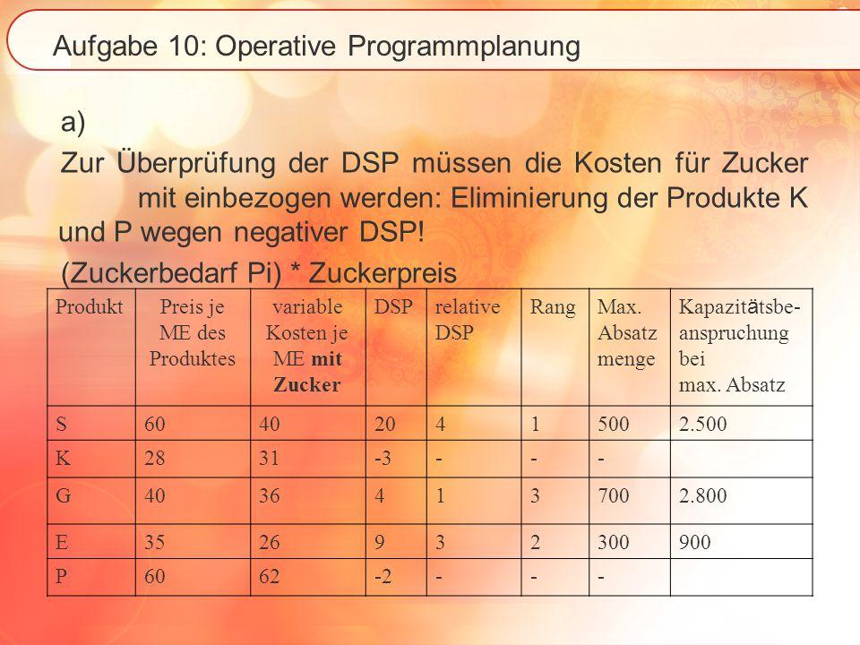 Aufgabe 10: Operative Programmplanung a) Zur Überprüfung der DSP müssen die Kosten für Zucker mit einbezogen werden: Eliminierung der Produkte K und P wegen negativer DSP.
