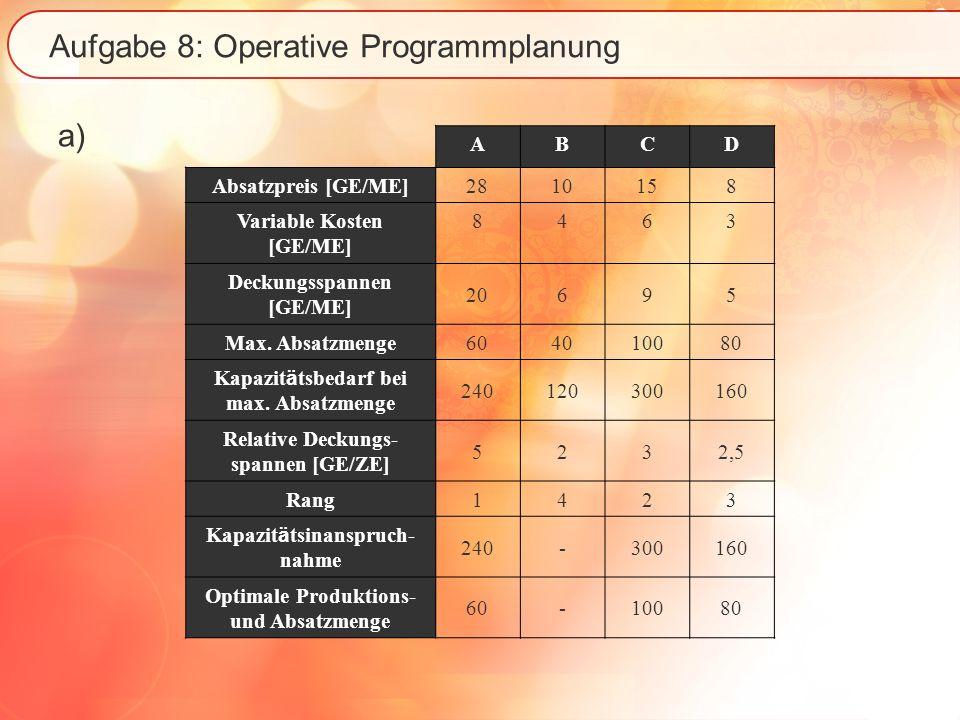 Aufgabe 8: Operative Programmplanung a) ABCD Absatzpreis [GE/ME] 2810158 Variable Kosten [GE/ME] 8463 Deckungsspannen [GE/ME] 20695 Max.