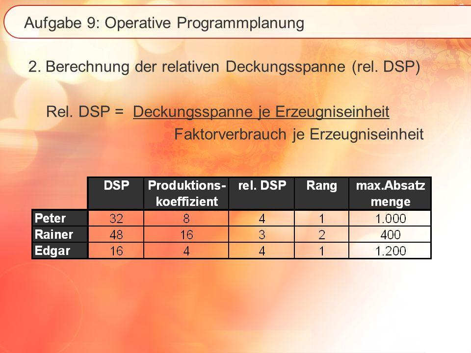 Aufgabe 9: Operative Programmplanung 2. Berechnung der relativen Deckungsspanne (rel. DSP) Rel. DSP = Deckungsspanne je Erzeugniseinheit Faktorverbrau