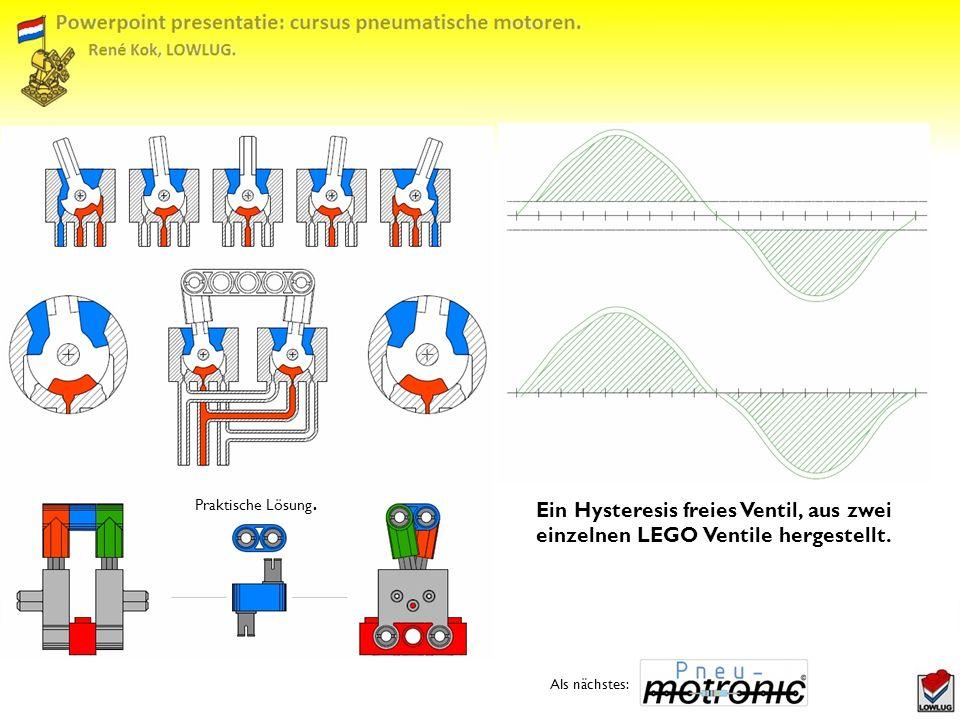 Praktische Lösung.Ein Hysteresis freies Ventil, aus zwei einzelnen LEGO Ventile hergestellt.