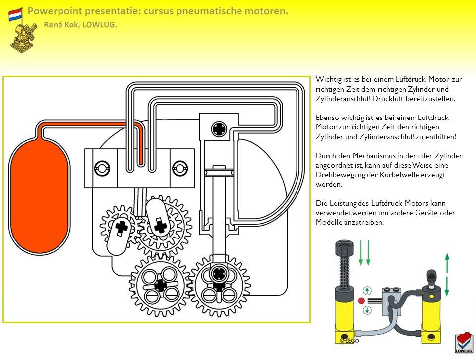 Wichtig ist es bei einem Luftdruck Motor zur richtigen Zeit dem richtigen Zylinder und Zylinderanschluß Druckluft bereitzustellen.