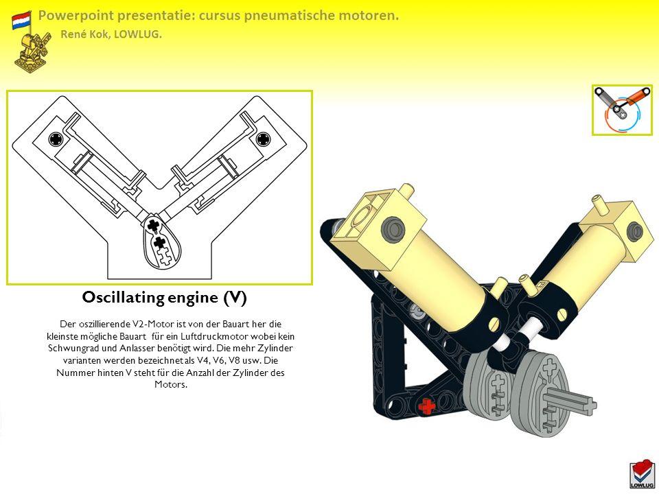 Oscillating engine (V) Der oszillierende V2-Motor ist von der Bauart her die kleinste mögliche Bauart für ein Luftdruckmotor wobei kein Schwungrad und Anlasser benötigt wird.