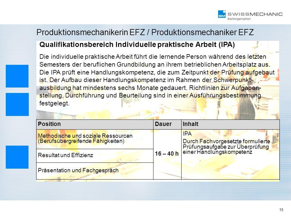 15 Produktionsmechanikerin EFZ / Produktionsmechaniker EFZ Qualifikationsbereich Individuelle praktische Arbeit (IPA) Die individuelle praktische Arbe