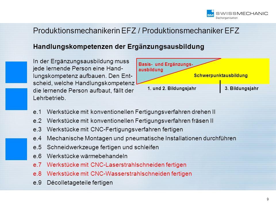 9 Produktionsmechanikerin EFZ / Produktionsmechaniker EFZ Handlungskompetenzen der Ergänzungsausbildung In der Ergänzungsausbildung muss jede lernende