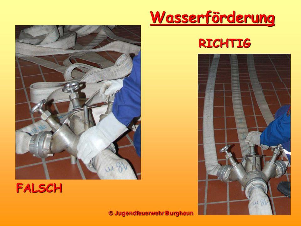 © Jugendfeuerwehr Burghaun Wasserförderung FALSCH RICHTIG