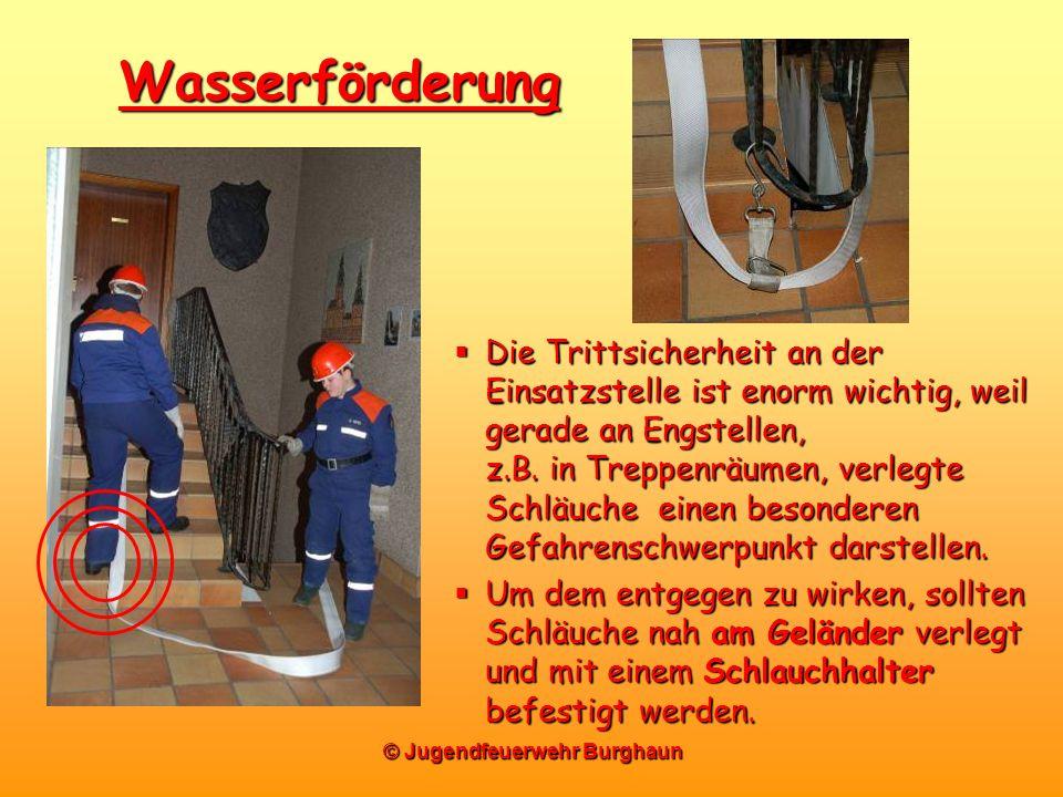 Wasserförderung Die Trittsicherheit an der Einsatzstelle ist enorm wichtig, weil gerade an Engstellen, z.B. in Treppenräumen, verlegte Schläuche einen