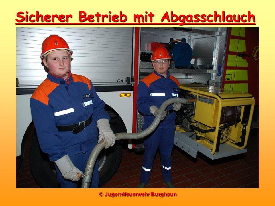 © Jugendfeuerwehr Burghaun Sicherer Betrieb mit Abgasschlauch