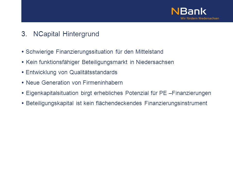 3. NCapital Hintergrund Schwierige Finanzierungssituation für den Mittelstand Kein funktionsfähiger Beteiligungsmarkt in Niedersachsen Entwicklung von