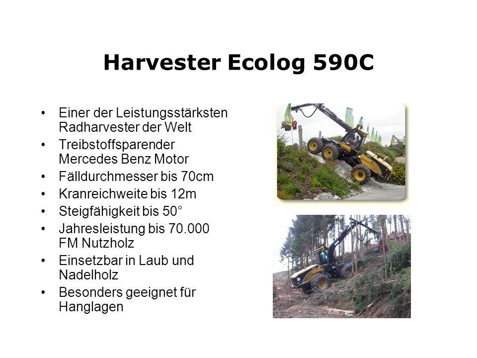 Harvester Ecolog 590C Einer der Leistungsstärksten Radharvester der Welt Treibstoffsparender Mercedes Benz Motor Fälldurchmesser bis 70cm Kranreichwei